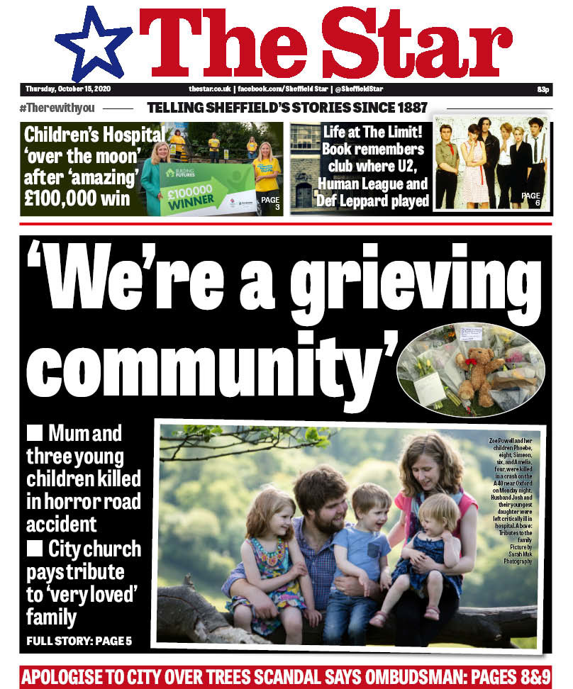 The tragedy on the front page of todays @SheffieldStar puts everything in perspective. It is utterly heartbreaking. Take time to be kind to those around you, please. pic.twitter.com/TpAhfDGDiR