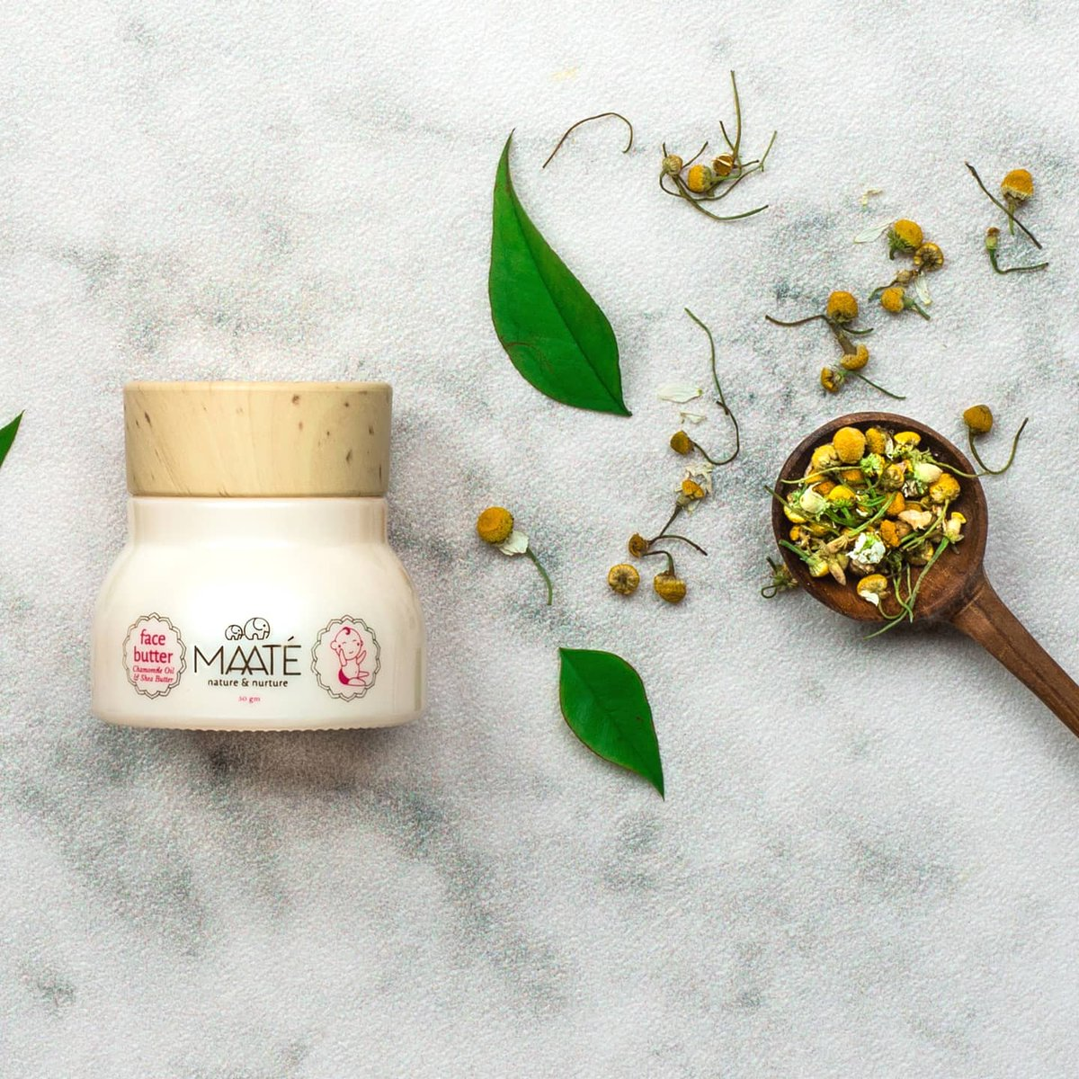 #Autumn and the onset of winter can cause your baby's tender facial skin to become extra chapped and dry. Give your baby the deep moisturising care of #MAATÉ's Baby Face Butter enriched with Antibacterial Chamomile Oil, and nourishing Shea Butter.