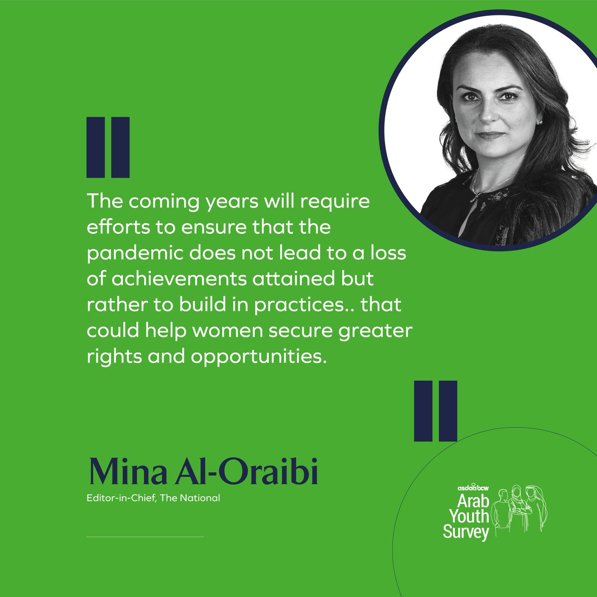 .@AlOraibi is the Editor-in-Chief of @TheNationalNews offers her insights on the 12th Annual @asdaabcw #ArabYouthSurvey's findings on the perception of gender rights. Read more by downloading the whitepaper at arabyouthsurvey.com