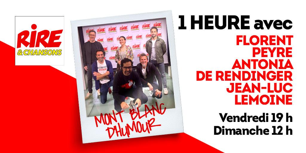 """Cette semaine dans """"1 heure avec..."""", Sébastien Boché reçoit @florentpeyreoff, @AntoniaOfficiel  et@JeanLucLemoine pour le Festival Mont-Blanc d'Humour ! 😀  Ne loupez pas la chronique de #JulienSantini 😎 Rendez-vous à 19h sur #RireEtChansons ➡️ https://t.co/1FlMTp6lqI https://t.co/oBmrXNdqUg"""