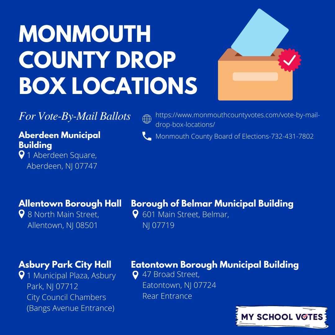 If you aren't comfortable with mailing in your ballot, don't let that deter you from using your voice. There are many secure drop boxes throughout Monmouth County designated specifically for mail-in ballot drop off. Take a look to see which ones are closest to you! #myschoolvotes