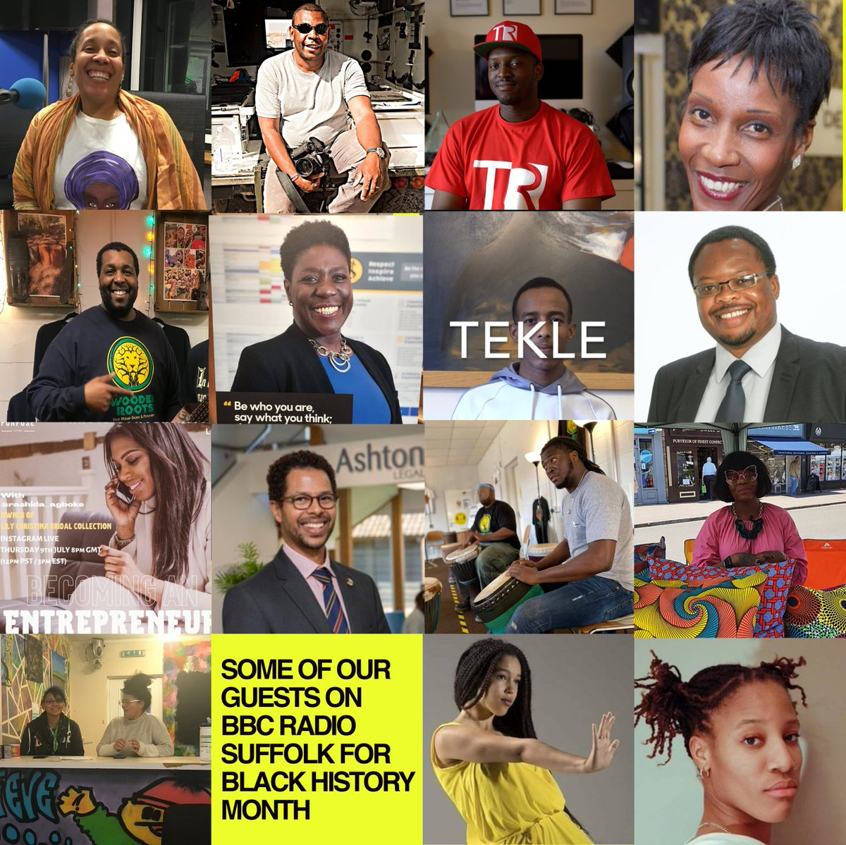 Here are just some of our wonderful guests ,businesses and projects we have celebrated across @BBCSuffolk for #BlackHistoryMonth many more people to come throughout the month + year as always  #blackhistoryyear - (can you spot #bbcbelongings presenter @handgeI Fridays 8 - 10pm👇)