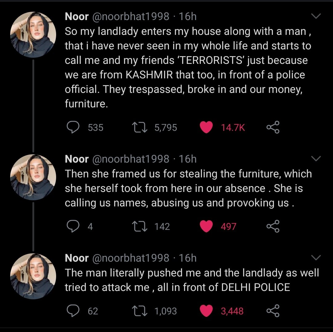 Called Terrorist': Kashmiri Lady @noorbhat1998 in Delhi Accuses Landlady of Abuse and Violence!  An argument between a landlady and her tenant ended up the former calling the latter a 'terrorist' just because a girl student, happens to be from Kashmir. #KashmiriLivesMatter