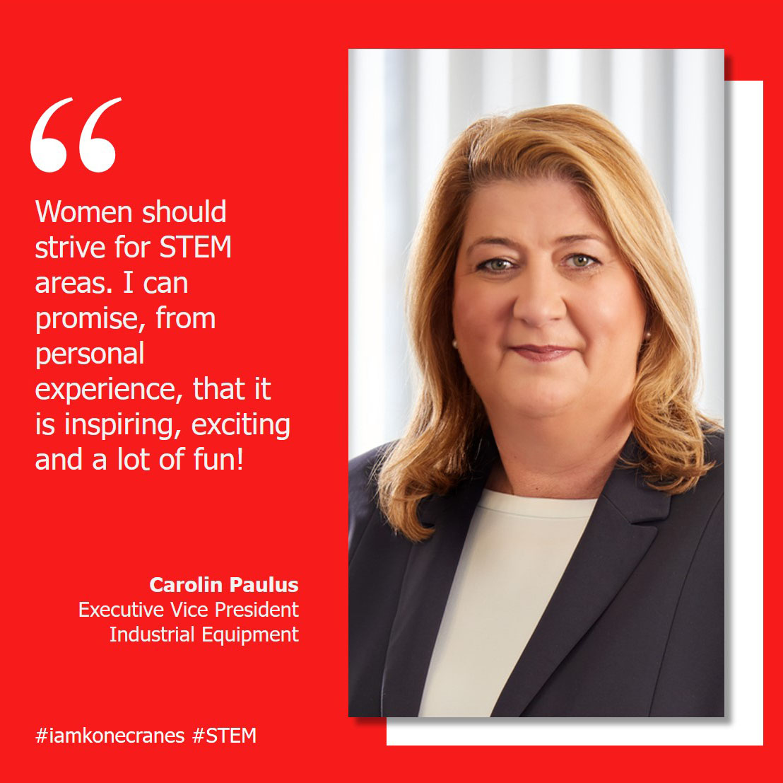 When our EVP for Industrial Equipment Carolin Paulus took her first management position, it was unusual to see woman in that role. That didn't stop her – and neither should it stop young girls today from pursuing their dreams. ❤️ #iamkonecranes #STEM #ALD2020 https://t.co/yjMP4Sr9ss