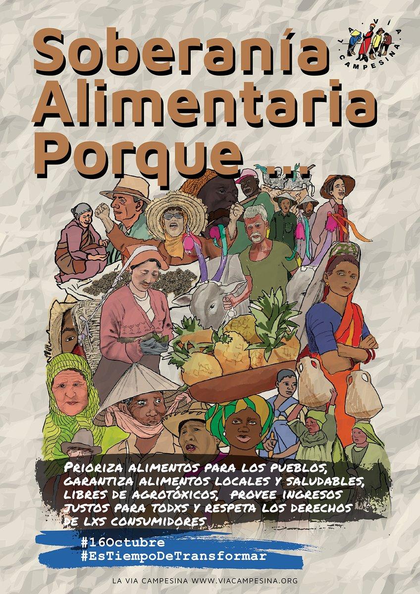 Hoy  #DíaDeLasMujeresRurales reivindicamos su papel histórico. Labran la tierra y plantan las semillas que alimentan naciones enteras.Y exigimos que #EsTiempoDeTransformar y construir la soberanía alimentaria. https://t.co/cTu2Wlcg2S