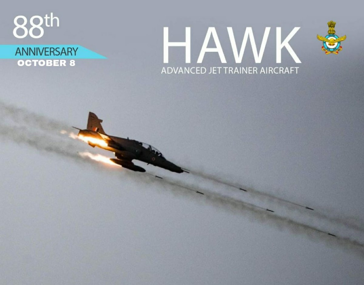 #AFDay2020: Hawk Mk-132 is IAFs Advanced Jet Trainer. With an advanced Mission Computer, Glass Cockpit & HUD, it is an ideal platform to train fighter pilots in air to ground weapon delivery & air combat. The Hawk is also flown by Suryakiran Aerobatics Team (SKAT). #KnowtheIAF