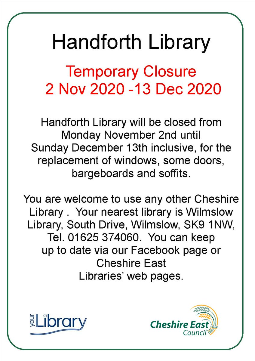 Building work is scheduled to take place at #Handforth Library. The library will close at 4pm on Thursday 29 October and  re-open at 10am on Monday 14 December. Apologies for any inconvenience. https://t.co/XujluLSWFj #CheshireEast https://t.co/tgMnvzhpnC
