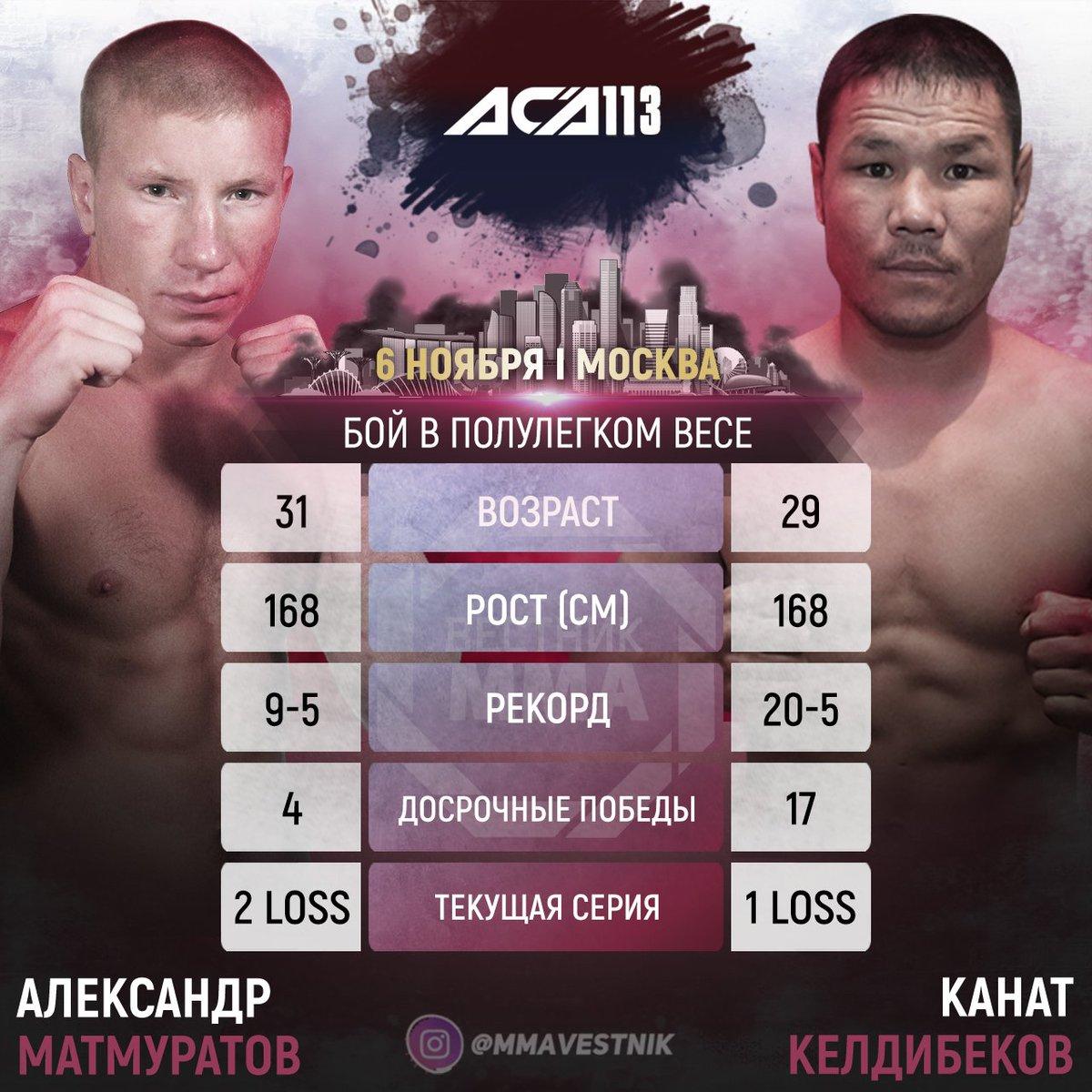 👊🏻 Александр Матмуратов (ACA 0-1) и Канат Келдибеков (ACA 2-1) проведут бой 6 ноября на турнире #ACA113 в Москве. https://t.co/HK5PO7jgF7