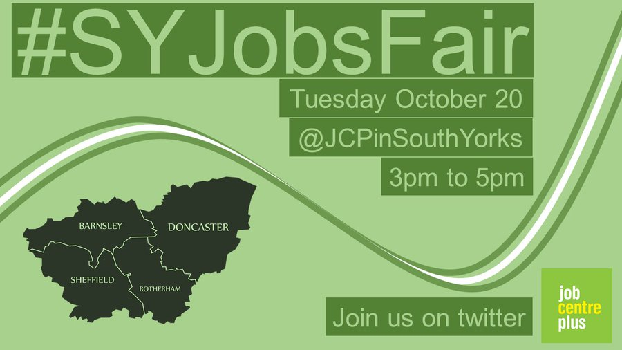 Infographic promoting the South Yorks Jobsfair on Tuesday October 20 between 3pm and 5pm