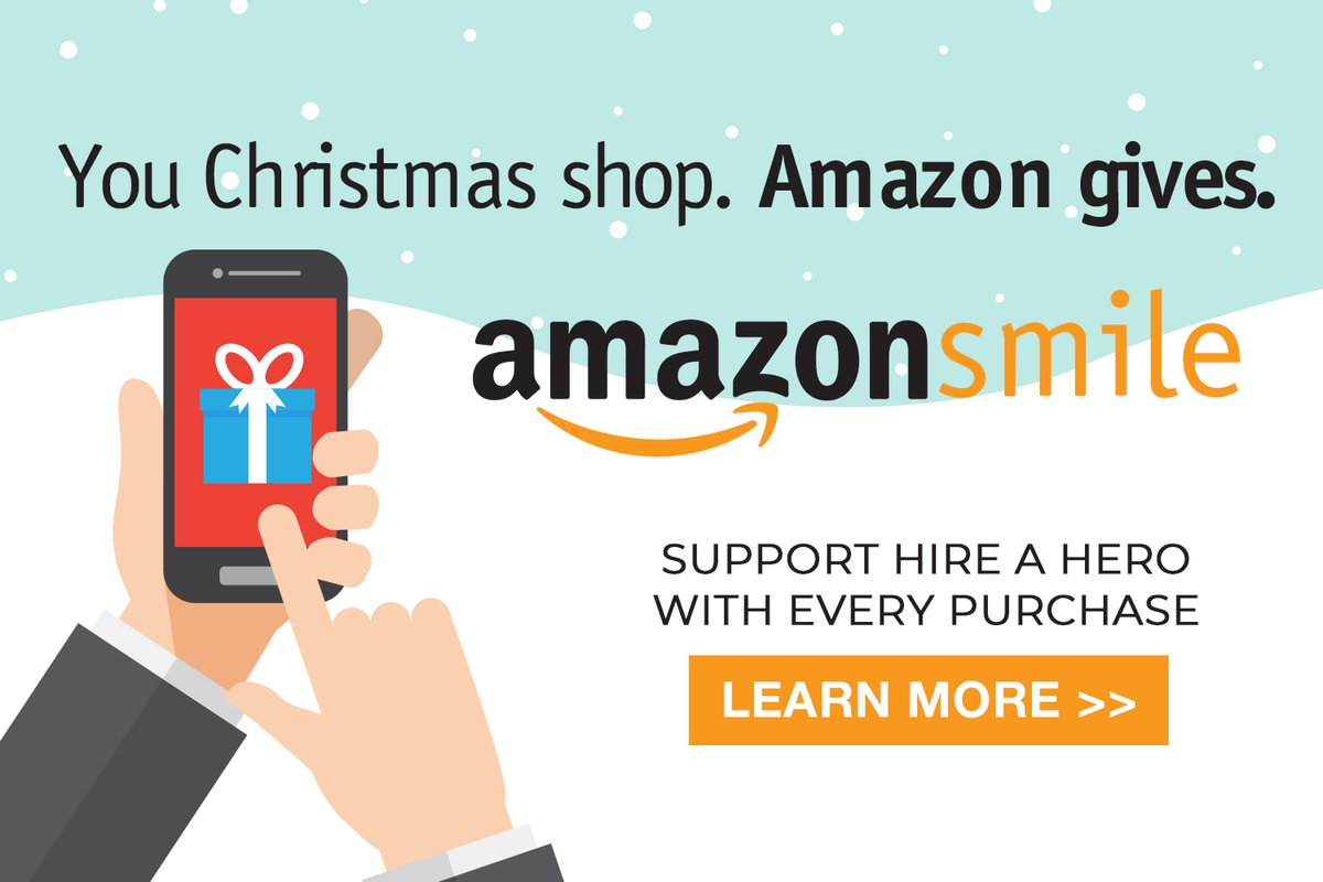 AmazonSmile is a simple and automatic way for you to support the charity every time you shop, at no cost to you. When you shop at https://t.co/msdcoEwiQm you will support Hire a Hero for FREE!  https://t.co/NexDqN0yL4 #amazonsmile #charity #christmas https://t.co/6KqOrRVdi0