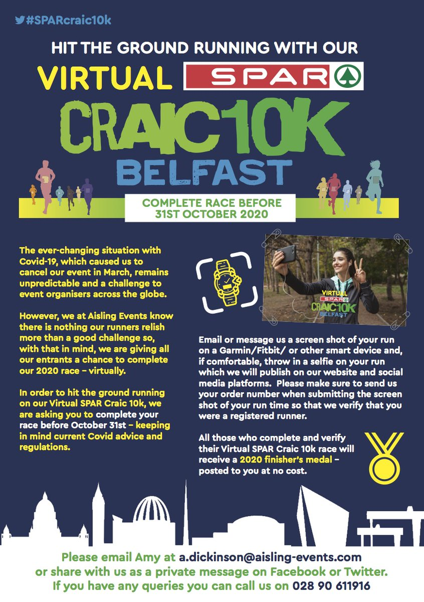 📢MEGA ANNOUNCEMENT😉 If you were not registered to originally run the SPAR Craic 10k 2020 DON'T WORRY ... You can still take part in the Virtual run and bag yourself some 2020 bling🏅 Register here for £6 👉https://t.co/fagtsTCOIN You can still purchase a Craic 10k t-shirt/vest! https://t.co/E68iGUQzzs