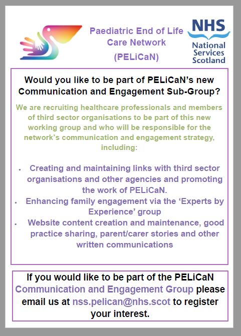 Our #Paediatric #EndOfLife #Care (#PELICANScotland)  #CommunicationAndEngagementGroup will create an #ExpertsByExperience Forum and bring the #voices and #experiences of #parents #carers #familymembers to the work of this national network.    https://t.co/RqiJSsjeFc https://t.co/xpTiTnvPDw