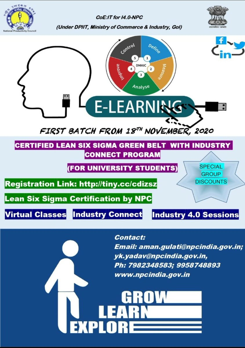 Dear Students, Upgrade your career through @NPC_INDIA_GOV Certified Lean #SixSigma #GreenBelt Online Program with add-on of #Industry4.0 Modules and #IndustryConnect First Batch starting from 18th  Nov, 2020. Register Here https://t.co/dlUYOtFmgE https://t.co/HvAFXY9vWr