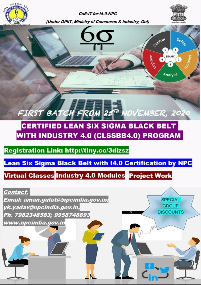 Dear Professionals, Add Six Sigma edge to your career. Participate in Online @NPC_INDIA_GOV Certified Lean #sixsigma #BlackBelt with #Industry4.0 Program. First Batch starting from 25th  Nov, 2020. Register Here https://t.co/yNNje4RLjZ #NPC  #npcindia  #npccertificate https://t.co/f6cDsmcZ9K