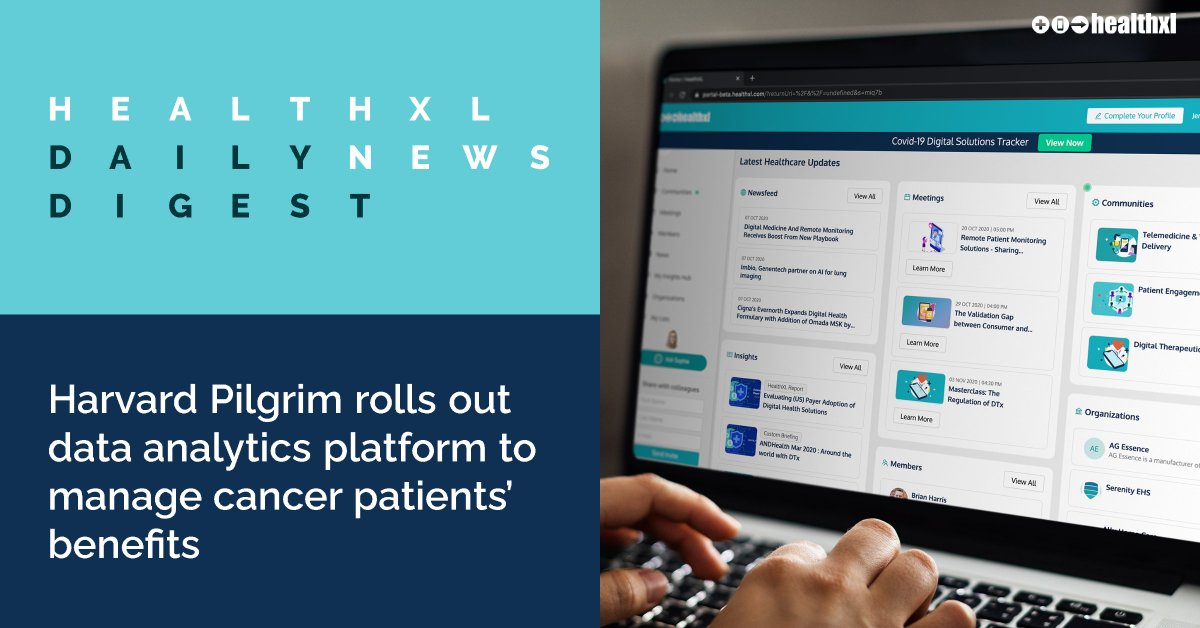 Today's top news headline from HealthXL's Daily Digest:  Harvard Pilgrim rolls out data analytics platform to manage cancer patients' benefits. Follow the link to find out more https://t.co/5P86sUfgKG #MedicalNews #DigitalHealth #HarvardPilgrim https://t.co/Q6QTGmvuHE