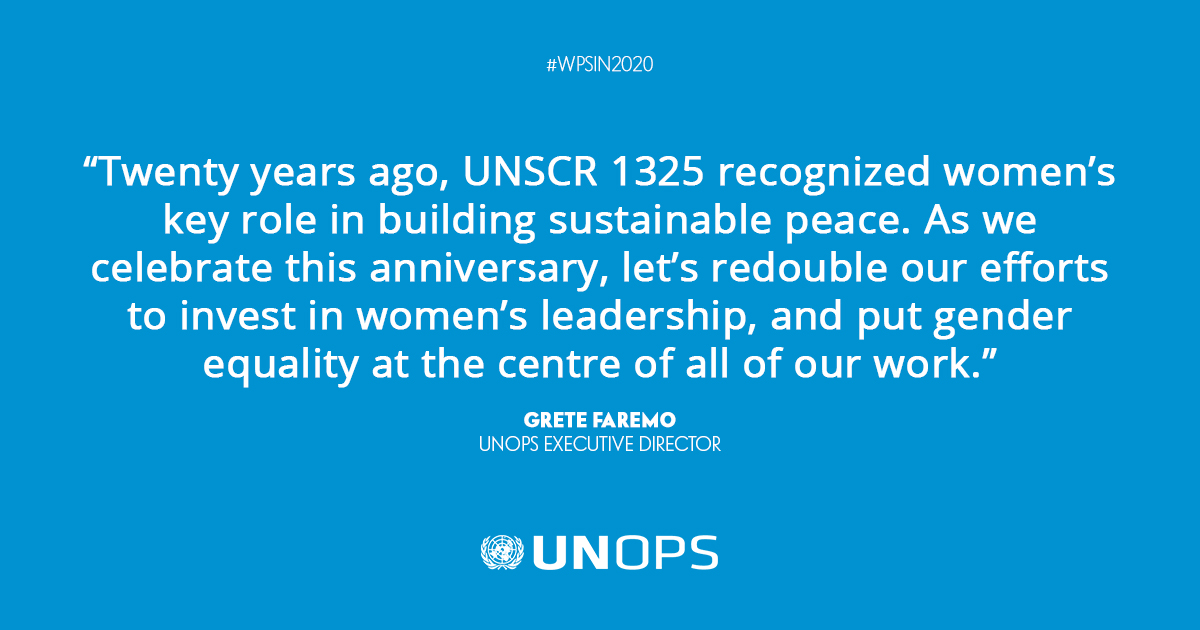 As we mark the 20th anniversary of #UNSCR1325, we continue to recognize the integral role women play in peace & security around the world | #WPSin2020 https://t.co/QX8Fx6VHSl