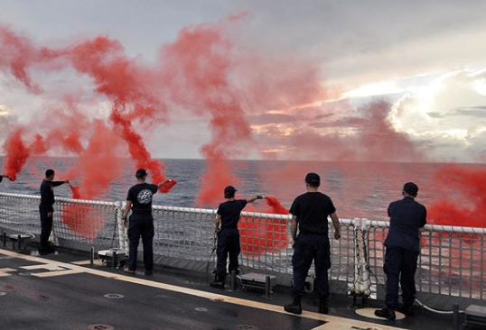 #USCG crews must familiarize themselves with emergency procedures on cutters and small boats, including hands on experience using a variety of day and night pyrotechnic signal flares. #SemperParatus #AlwaysReady