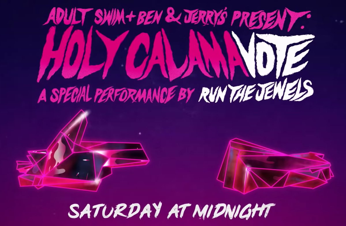 Run the Jewels Holy CalamaVote performance on @AdultSwim will include appearances by Pharrell Williams, 2 Chainz, Gangsta Boo, and more. Watch the trailer: cos.lv/pfAz50BTD6C