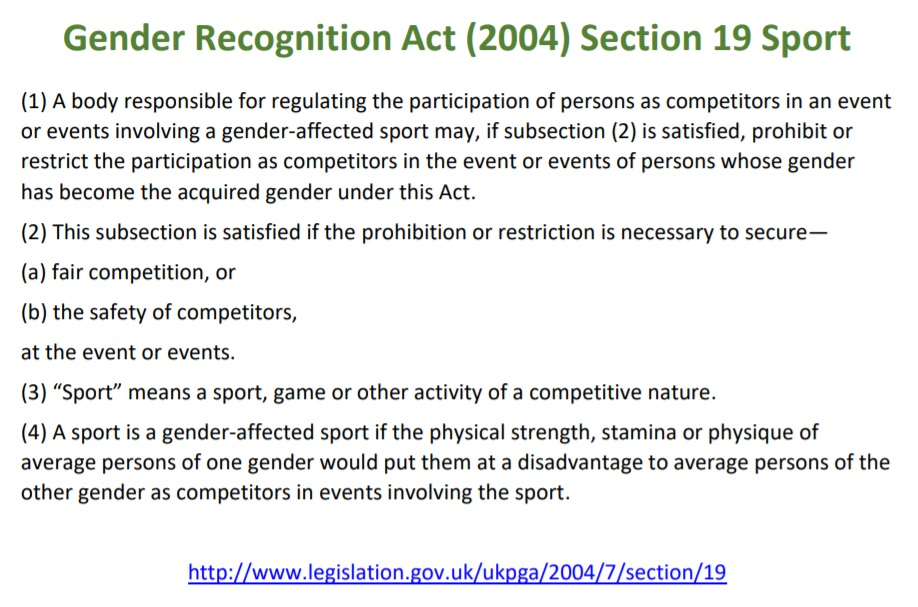 Protection of womens sport was built into the Gender Recognition Act 2004 and reinforced by the Equality Act 2010. @EnglandRugby should note that this is to enable fair competition and safety for women and girls. Heres what the GRA says: