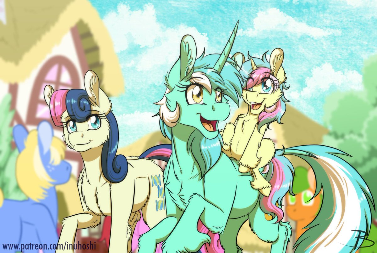 """Calpain on Twitter: """"I can see these two being amazing parents: Lyra the  fun one and Bon Bon the calm responsible one. Artwork is by InuHoshi, find  them below! https://t.co/KFMvRRQ4ey #mylittlepony #fanart…"""