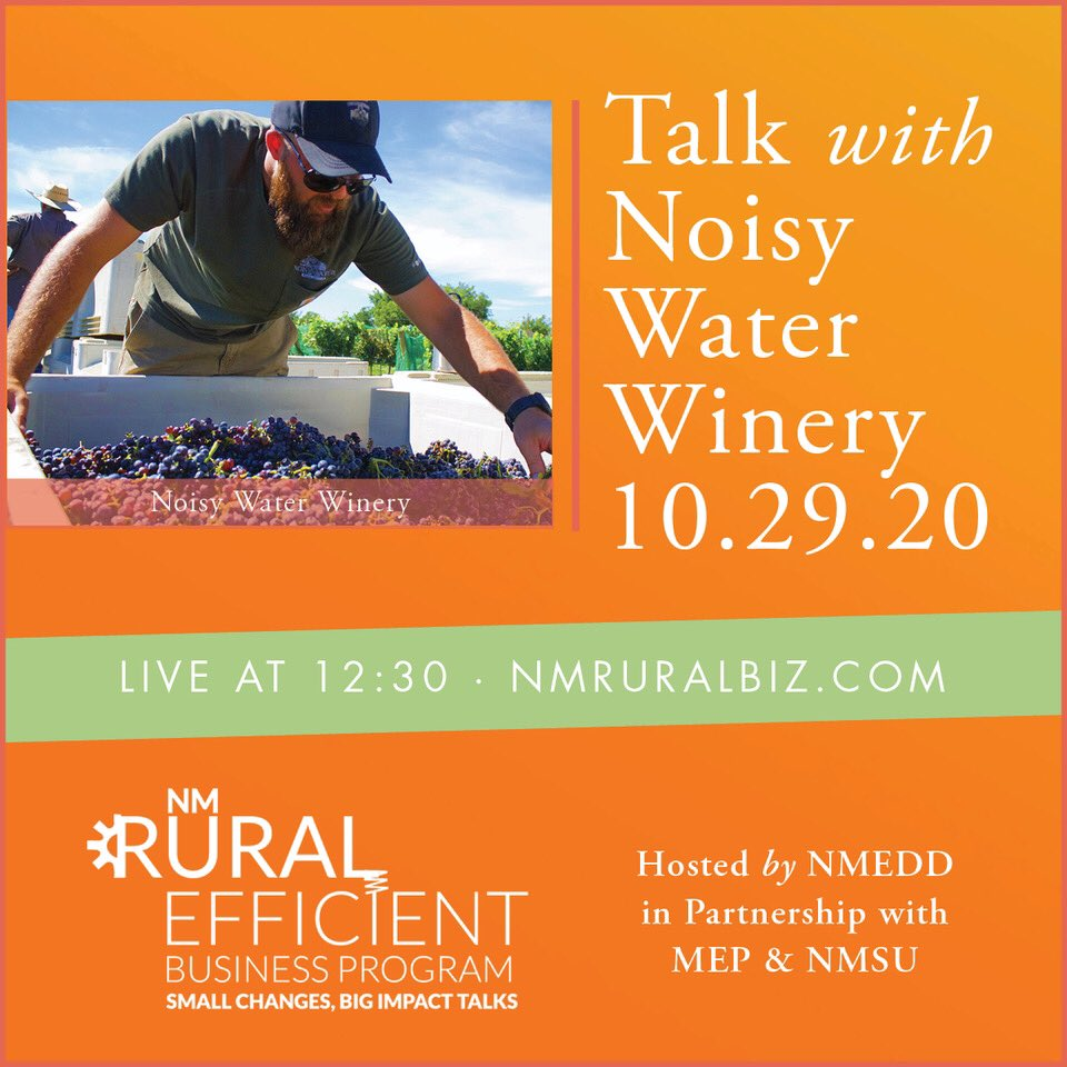 Jasper Riddle from @noisywaterwine will discuss how energy efficiency & sustainability helps his business financially in @NMecondev's Rural Efficient Business Interview on Oct. 29!  ➡️ Register here: https://t.co/l3XyGKMjN3 https://t.co/zHR1Akzo4l