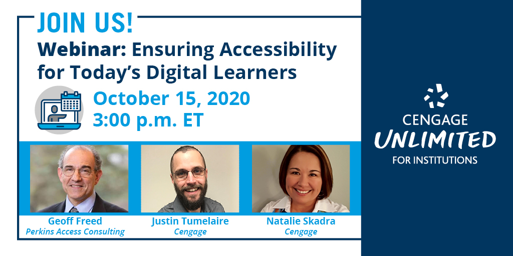Happening today! What does #accessibility mean for digital learners in #HigherEd?Join us today at 3pm ET to learn how to discover the best fit, accessible education technology for your institution. Register here >> https://t.co/ESKISxdU5L https://t.co/veoCNaUNGA