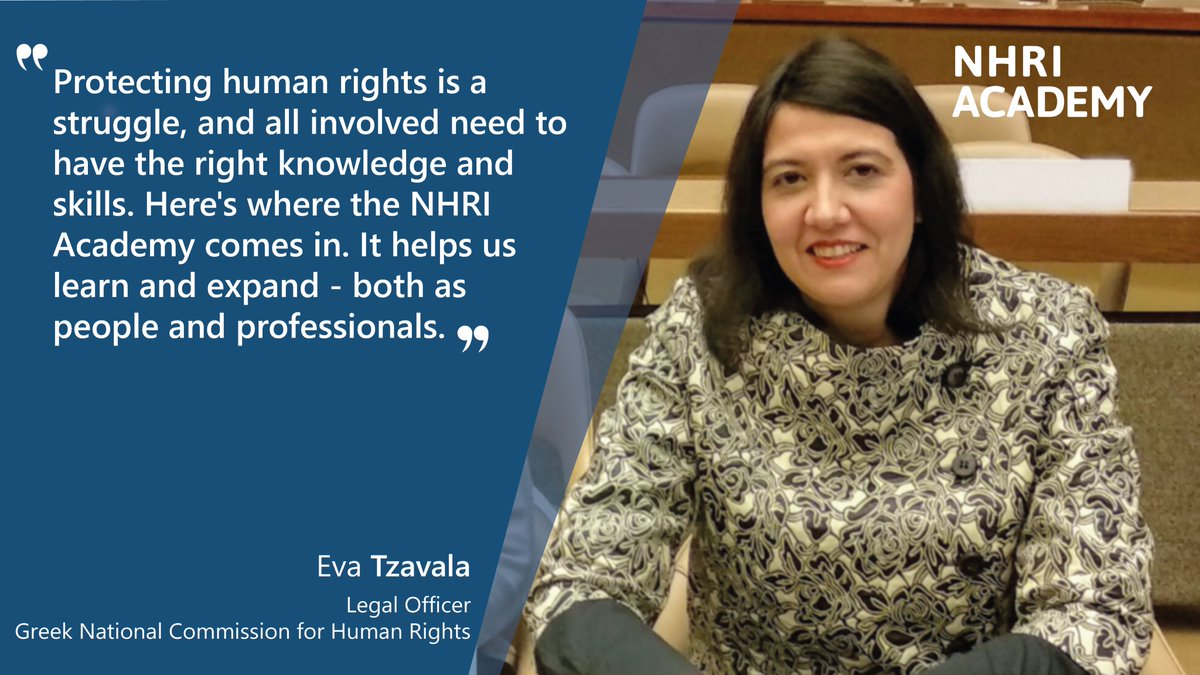 A #HumanRights perspective on #migration is the focus of this year's #NHRIAcademy. As Eva, a participant from Greece says, 'Protecting human rights requires the right skills & experience'. Learn more here 👉https://t.co/UJFaf0u5M7. https://t.co/XQDpGXhbpz