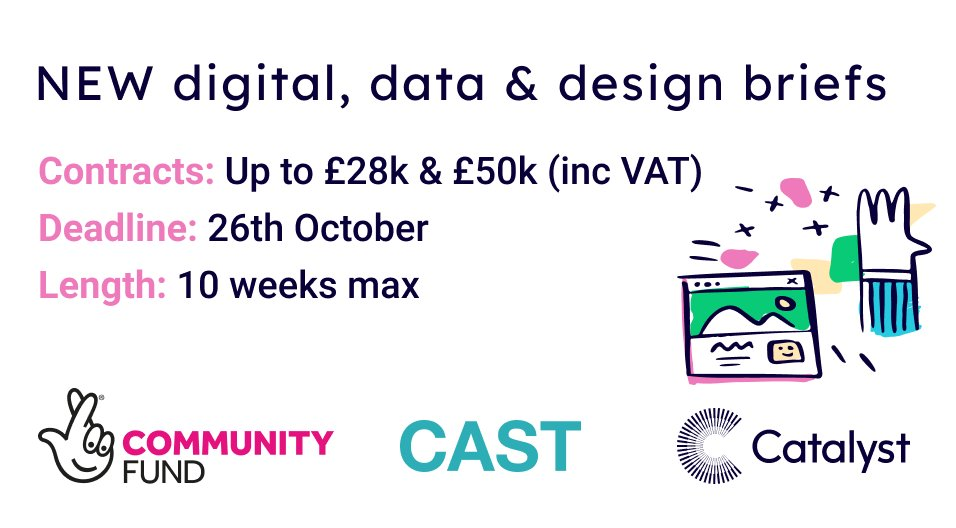 NEW #digital / data / design briefs available for tender  We're funding agencies to help 11 nonprofits through 10 weeks of development, via our work with @TNLComFund  Individual project briefs online at https://t.co/tsbz8kgrHh Contracts up to £28k / £50k (inc VAT) Deadline 26 Oct https://t.co/NnzXeBgFee