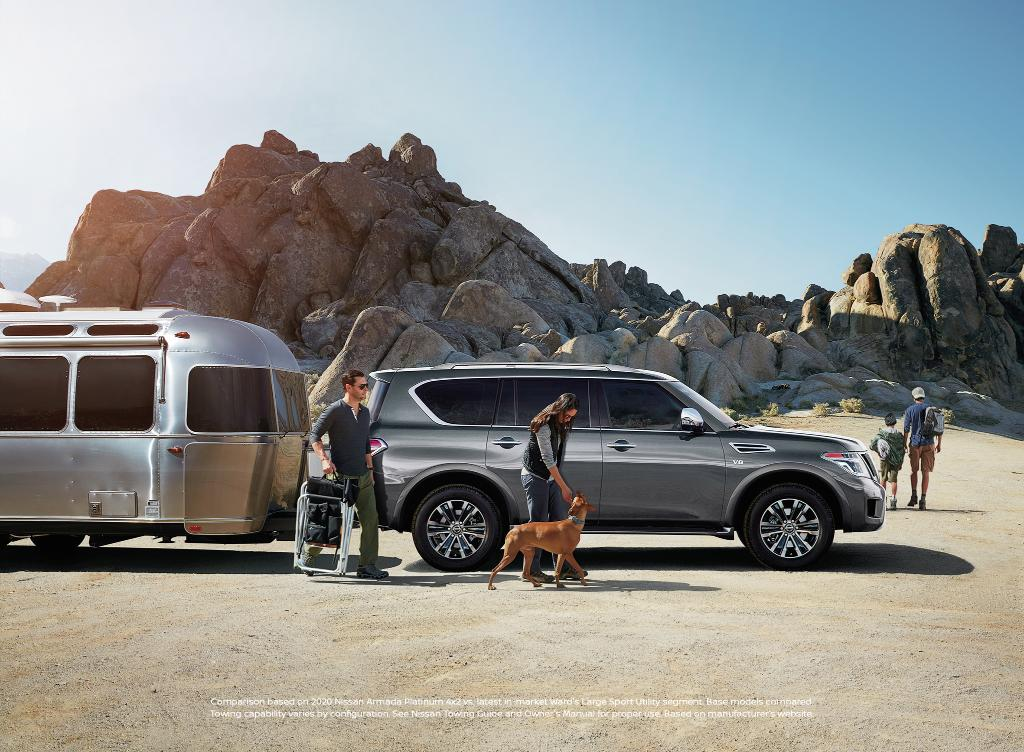Wake up to a new backdrop. With Best-In-Class Standard Maximum Towing Capacity of up to 8,500 lbs. in the #NissanArmada2020 * https://t.co/HUXK4GjTwP