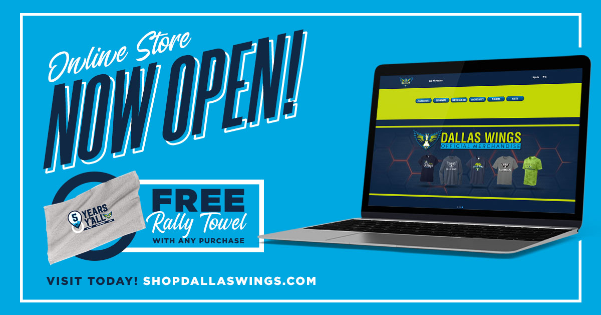 🚨 𝗠𝗘𝗥𝗖𝗛 𝗔𝗟𝗘𝗥𝗧! 🚨  Check out our new online store for the latest Dallas Wings apparel & accessories. With any purchase, you'll receive a 𝗙𝗥𝗘𝗘 commemorative rally towel that celebrates our 5th year anniversary! 👀  𝗦𝗛𝗢𝗣 𝗛𝗘𝗥𝗘 ➡️ https://t.co/WPfb6lR3su https://t.co/OaBYEhebxJ