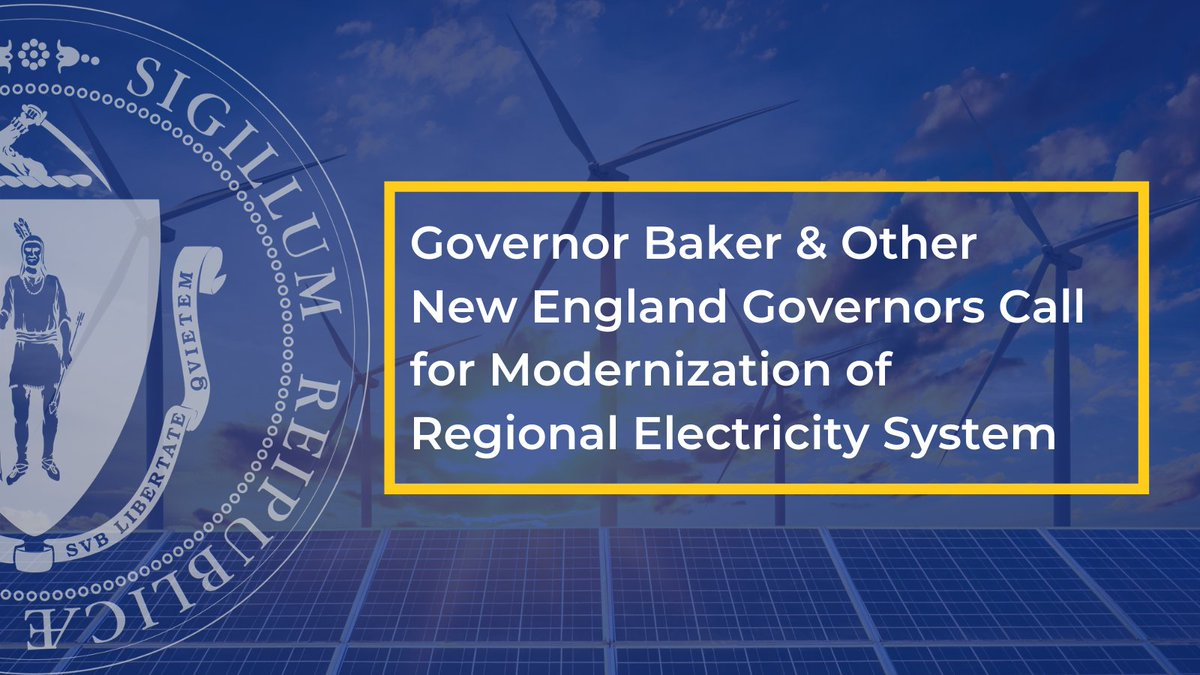 To meet our climate goal of net-zero emissions by 2050, MA needs a regional electricity system that can support the delivery of clean, affordable + reliable energy.  Glad to join other New England governors in calling for the modernization of our grid:  🍃 https://t.co/4TjXvfPLXc https://t.co/NcVrUOfRjt