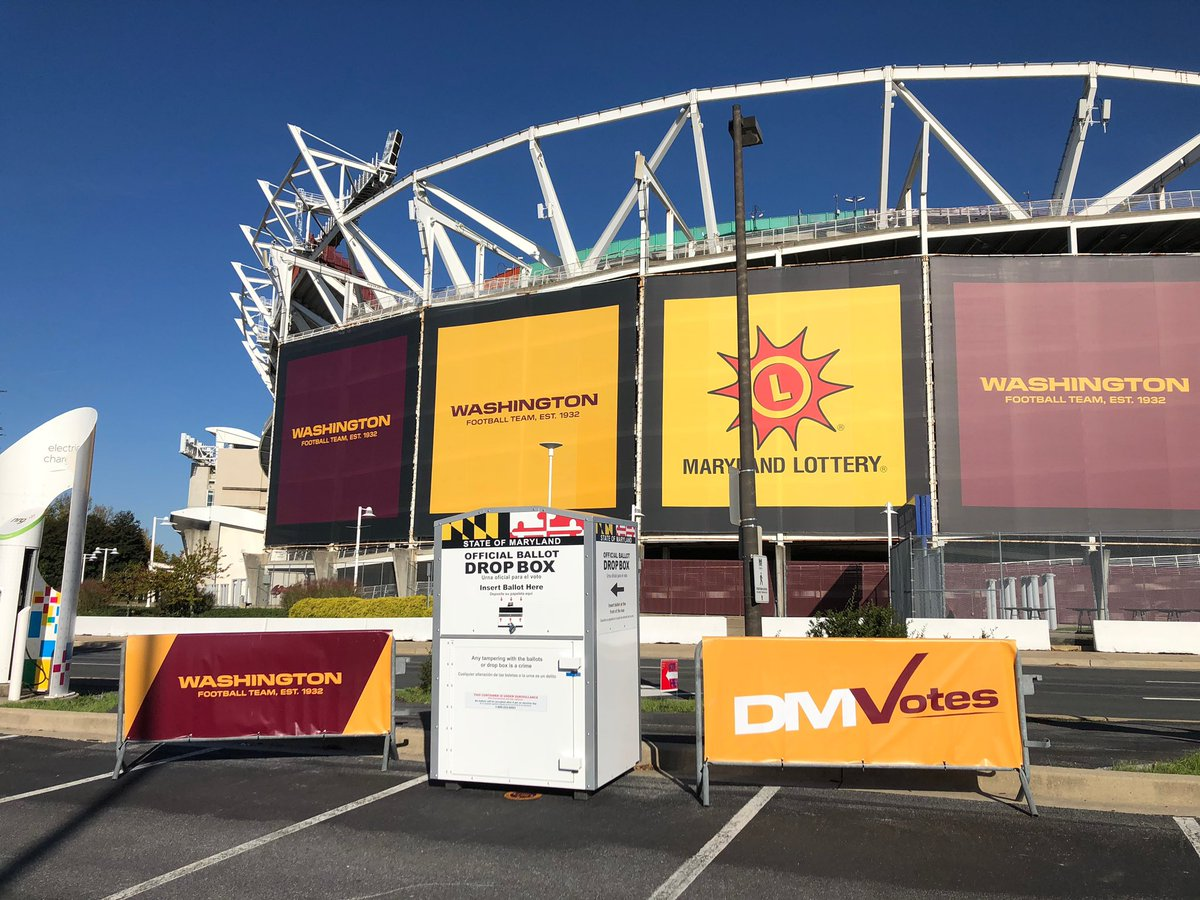 PG County residents: Drop off your mail-in ballot at our secure ballot box at Lot G. Or come on Election Day @fedexfield will serve as a Super Voting Center‼️ #DMVotes https://t.co/ZSvPOSG7s3