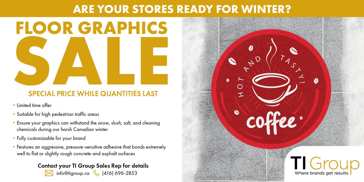Winter Outdoor Graphics Sale! Special price while quantities last. Contact your TI Group Sales Rep for details. #sidewalksale  #sale #outdoorgraphics #winter #creative https://t.co/Xs8JANdY0W