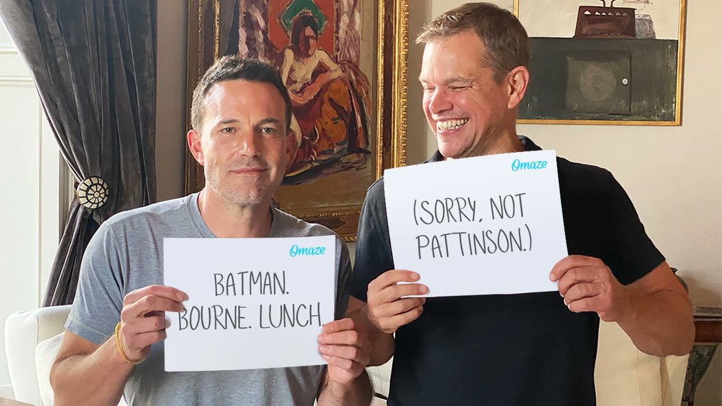 Ben Affleck and Matt Damon  working with @omaze to  get lunch with them All the donations will help @EasternCongo & @Water   ¡GO, GO!  Enter now at https://t.co/sdH0URVg5Y https://t.co/KUFoTYQT8a