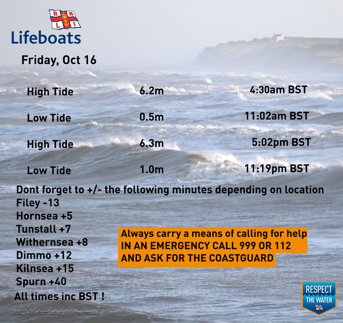 Friday Oct 16 2020🌊⏲️ #RespectTheWater #BeWaterAware #BeBeachSafe #TideTimes #WaterSafety #Withernsea https://t.co/TGfm5amB9U