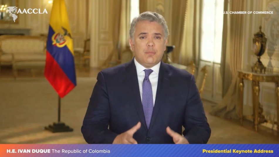 test Twitter Media - Happening now! A presidential keynote address from Colombian President @IvanDuque. We are honored to have President Duque with us today for an update of the current state of the Colombian economy and an overview of the U.S.-Colombia bilateral relationship. #FOLAC2020 #AACCLA https://t.co/z1RURxfBAd