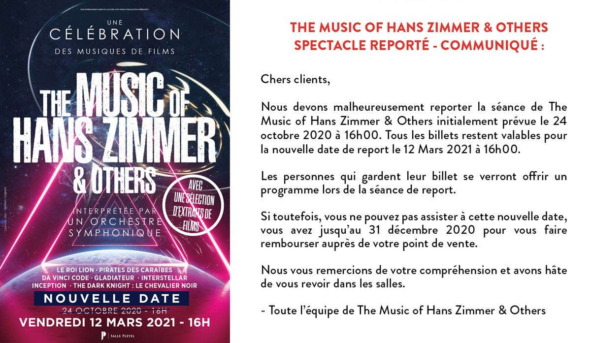 ➖THE MUSIC OF HANS ZIMMER & OTHERS ➖  Spectacle reporté - Communiqué ⬇️  Pour les acheteurs via le site de la @sallepleyel, rendez-vous par ici : https://t.co/WebSELXJIS  Présenté par @IndigoProdu