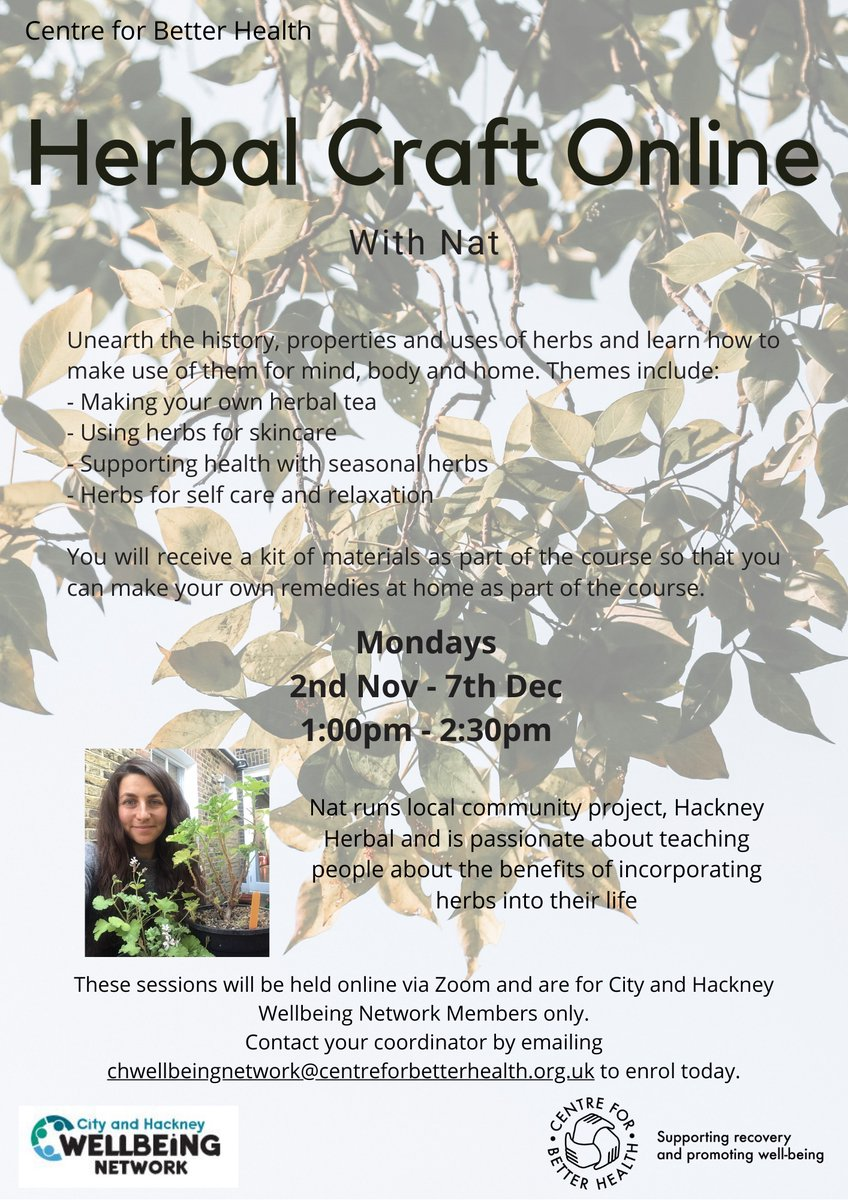 The amazing people @hackneyherbal are delivering a Herbal Craft course this autumn. Get involved. https://t.co/oCHv4RWUgI