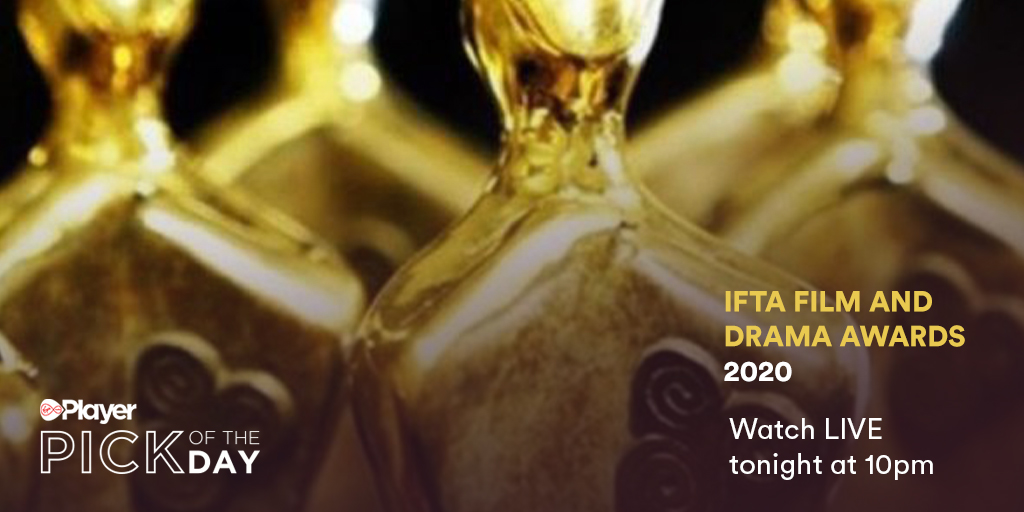 Virgin Media Televisions Pick of the Day: IFTA Film and Drama Awards 2020 Join us as we celebrate these talented Irish nominees alongside @DeirdreOKane1 🌟 #IFTAs, tonight at 10pm on Virgin Media One