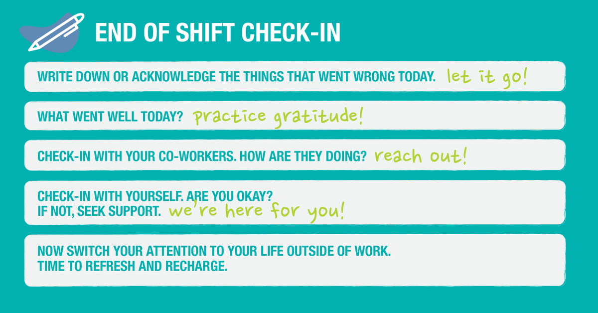 Your #mentalhealth is important. Be sure to check-in with yourself at the end of every workday.