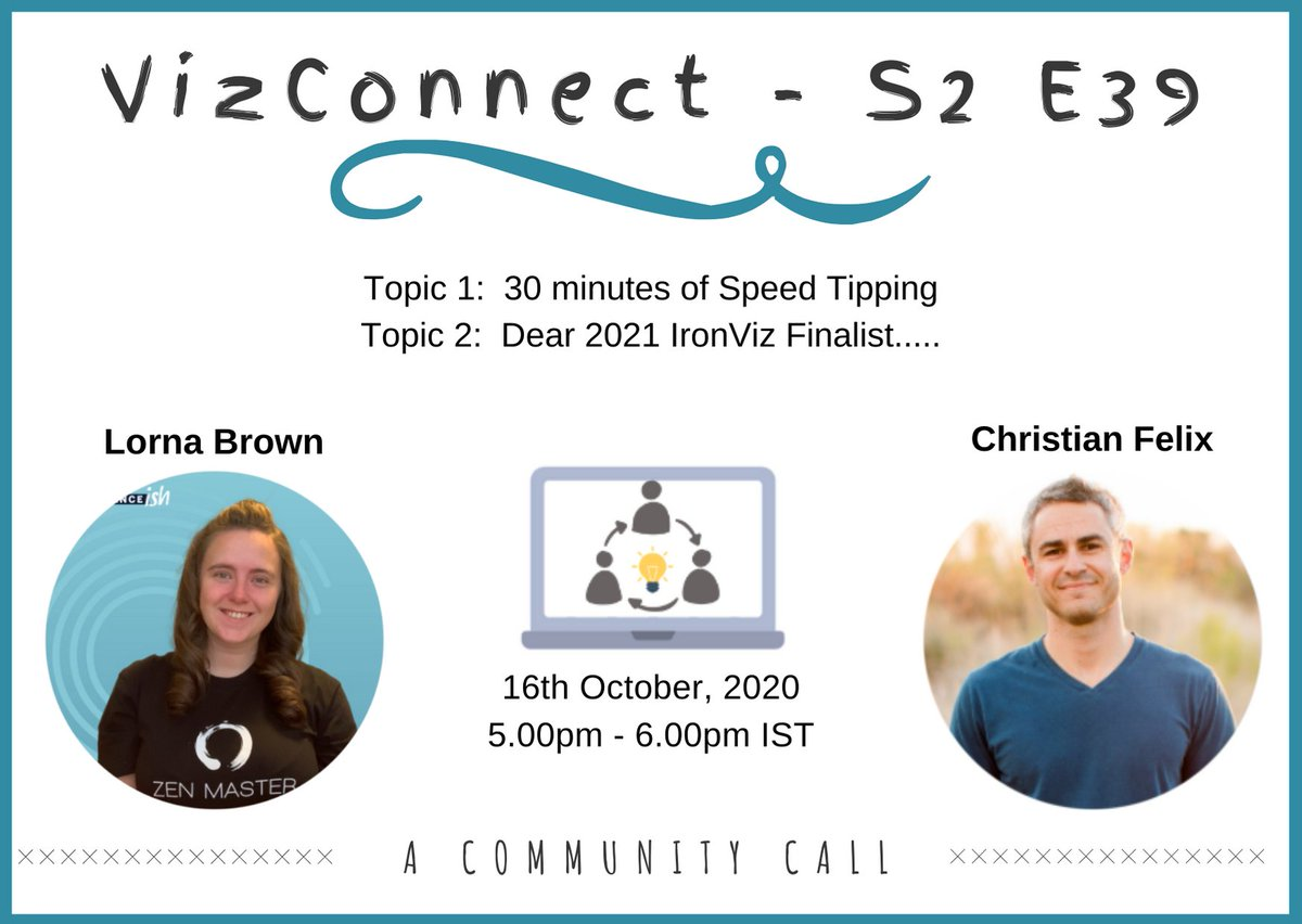 Join us for this #VizConnect webinar to hear from the queen of #Tableau tips @_Lorna_Brown & the 2020 #IronViz winner @thecfelix!!    Topic 1: 30 minutes of Speed Tipping ⏱️ Topic 2: Dear 2021 IronViz Finalist..... 🏆  Register here: https://t.co/THj1hX2dUs https://t.co/jd13qUh3M3