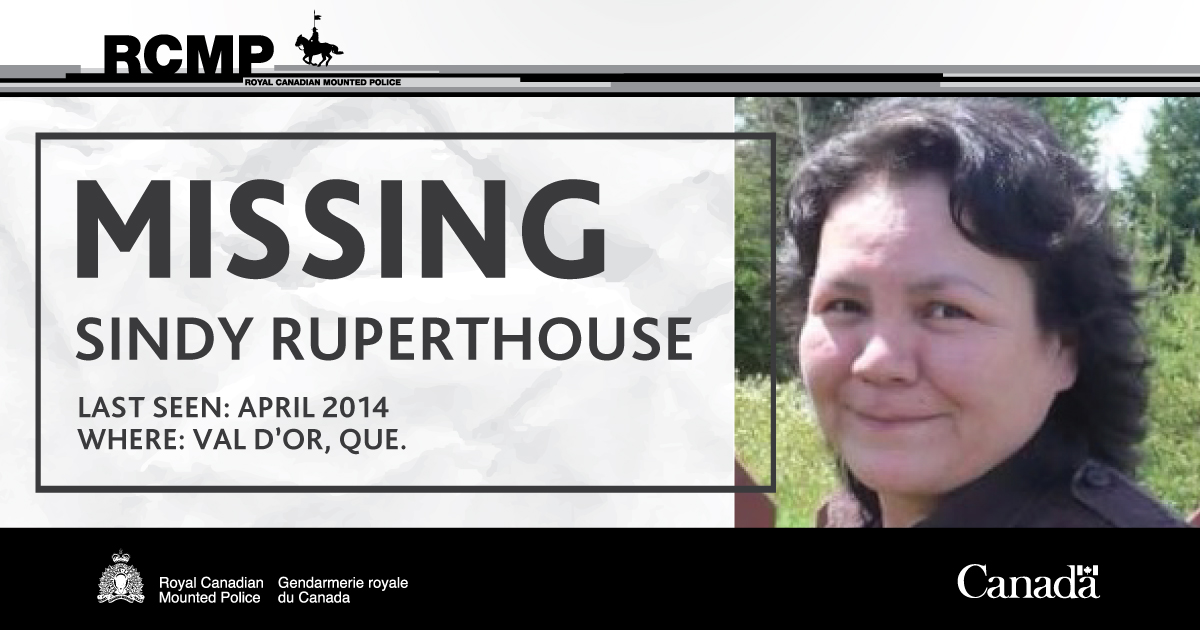 MISSING: Sindy RUPERTHOUSE, 44, disappeared from Val DOr, Quebec. She was last seen in April 2014. Please retweet and learn more about the RUPERTHOUSE case. #CanadasMissing #MMIWG services.rcmp-grc.gc.ca/missing-dispar…