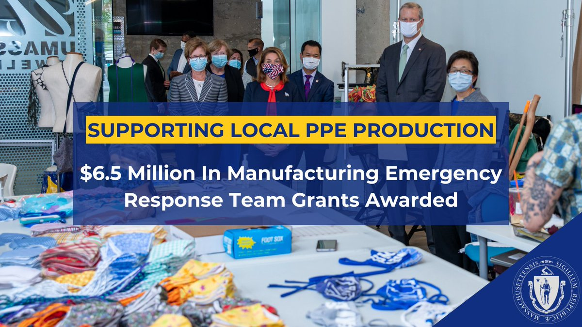 October is #ManufacturingMonth and we're grateful to Massachusetts manufacturers supporting our #COVID19MA response by shifting their operations to produce PPE + other supplies.  Today we awarded $6.5 million in new grants to support further production:  ⚙️https://t.co/dNBL7zIfq4 https://t.co/ip4YvcfHvU