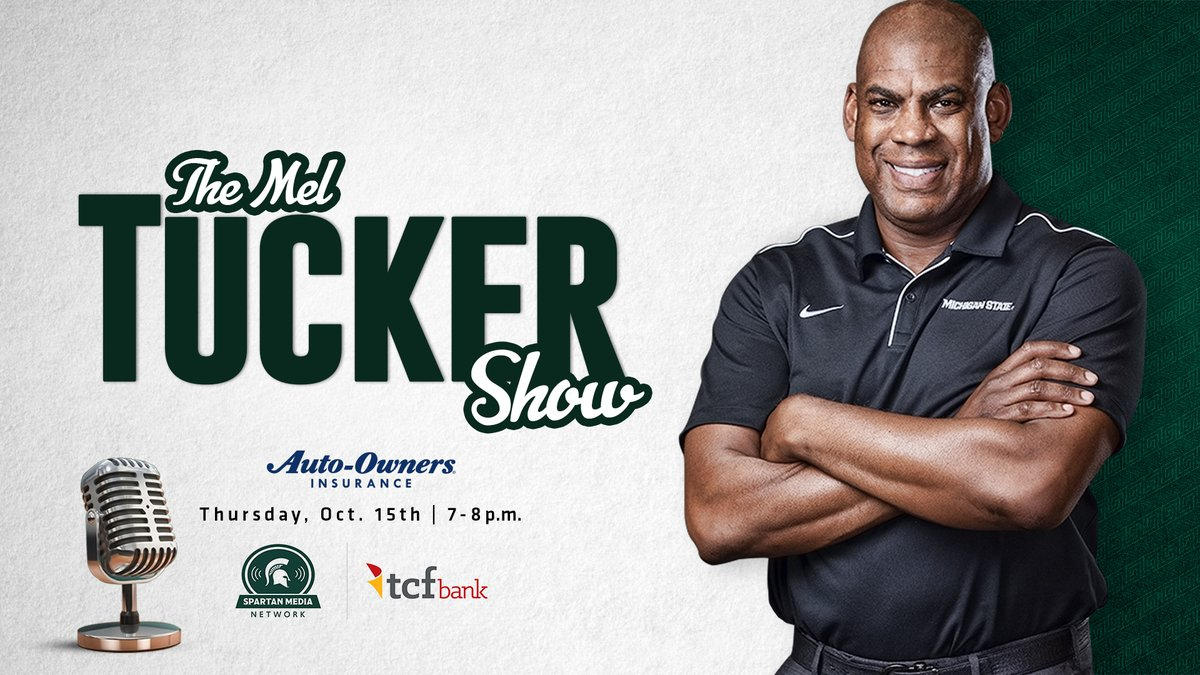 Spartan fans, be sure to listen to the Mel Tucker Show tonight from 7-8 p.m. on the statewide @TCFBank Spartan Media Network. Fans can also listen live on msuspartans.com ➡️msuspartans.com/watch/?Live=15…