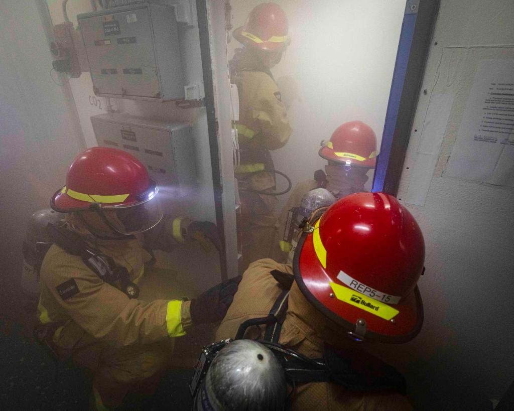 Every Sailor is a firefighter! #USNavy Sailors simulate combating a fire during a damage control training team drill aboard the Arleigh Burke-class guided-missile destroyer #USSJohnSMcCain while underway ensuring a #FreeAndOpenIndoPacific in the #SouthChinaSea.