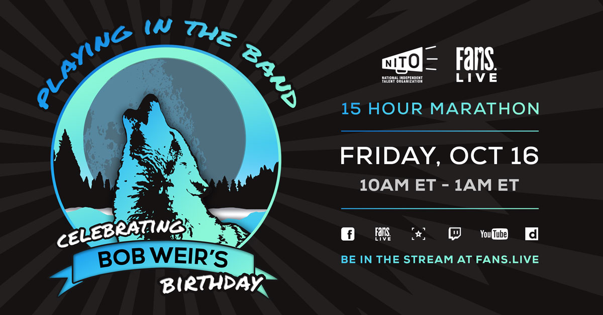 ⚡️TOMORROW⚡️ @FansBelongHere hosting a birthday party for @BobWeir on FRI, OCT 16! Playing in the Band: Celebrating Bob Weirs Birthday begins at 10 a.m. ET. Support @NITO_Live while you watch on FANS.live