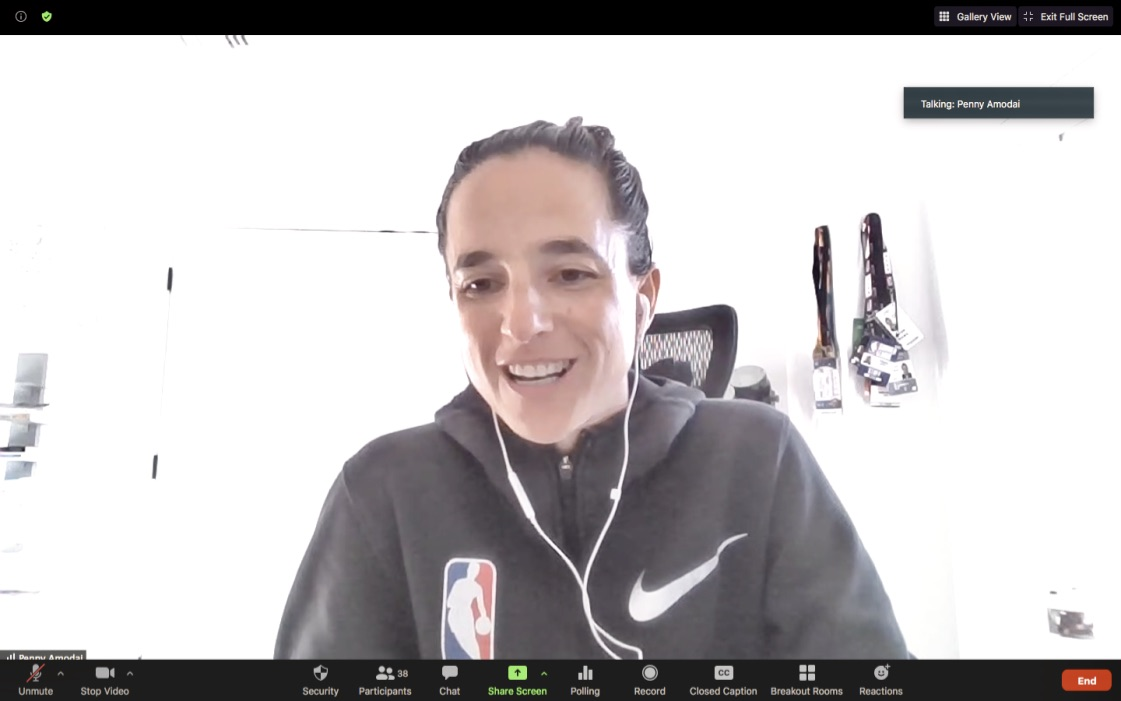 Penny Amodai returning to @nyuniversity @nyutischsports to talk with our students about her experience working at the @NBA in #international #development programs that #GrowTheGame from #grassroots to #elite. Bonus #alumni #career #insights, too. #SportsInCities #WholeNewGame https://t.co/YxZi6jOV9d