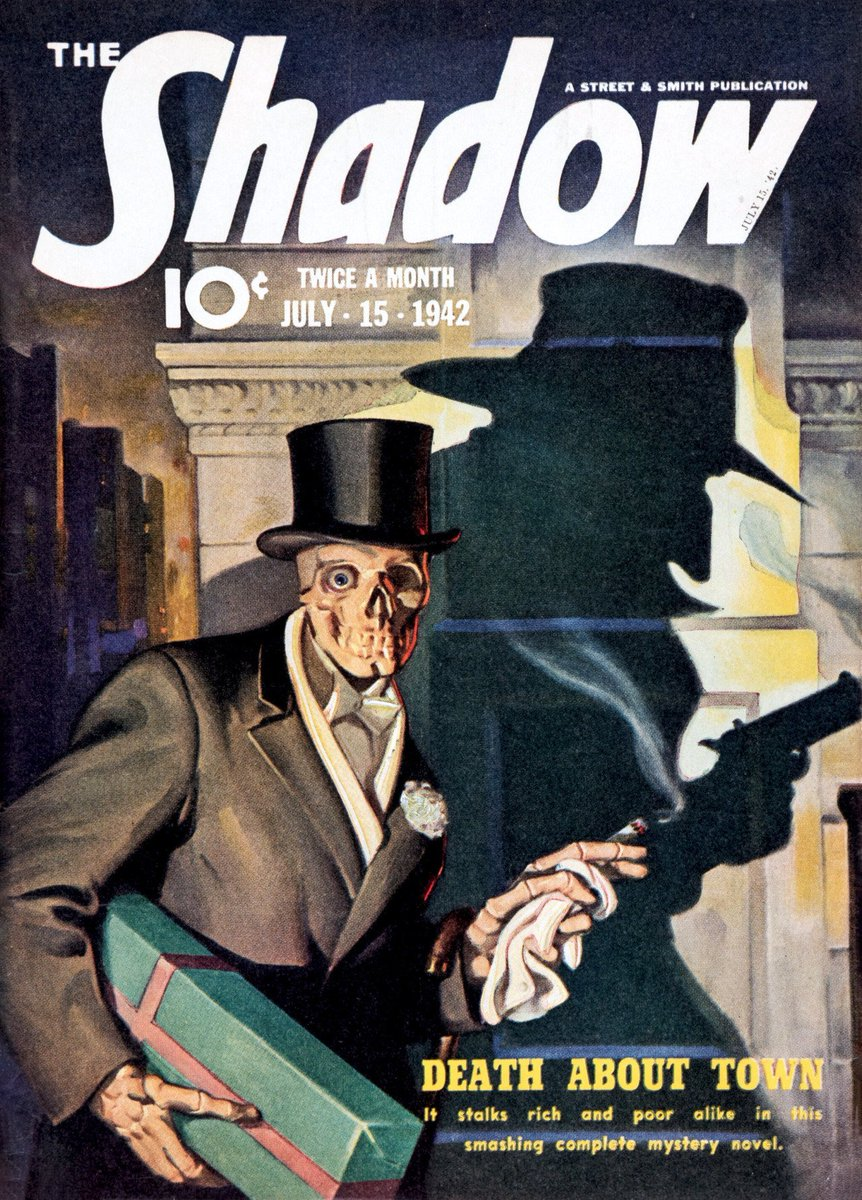 """Death About Town""  The Shadow, July 15, 1942, cover by George Rozen https://t.co/3aDnfZvTDI"
