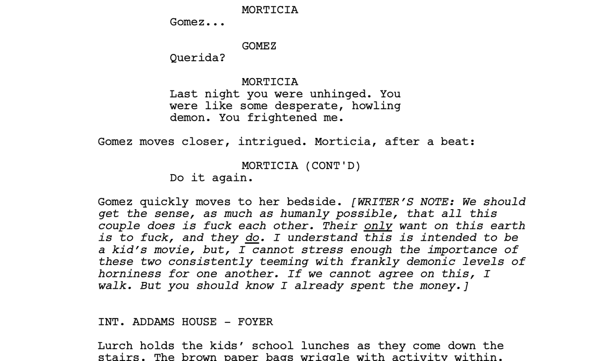 Ok... just found something kind of interesting while reading the original script for The Addams Family (1991)... anyone ever see this? https://t.co/Y3YvPl7Ev9