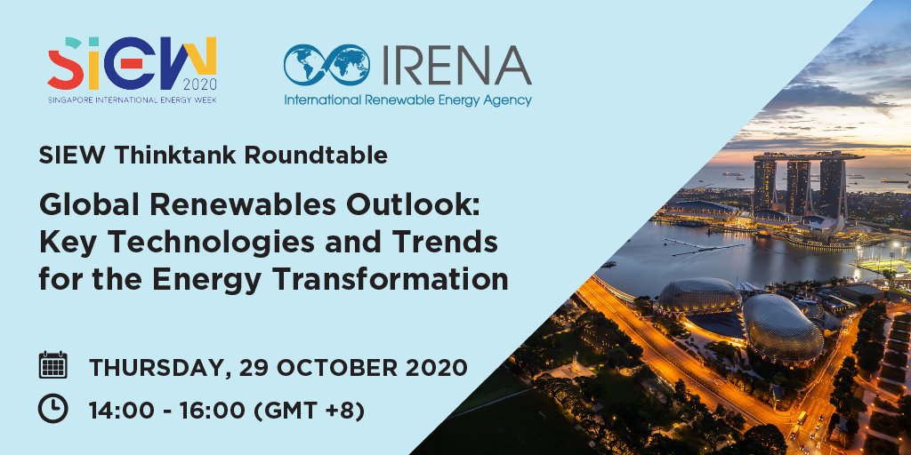 Next week at #SIEW2020, join @IRENA's roundtable event for a discussion on the tech needed to accelerate the #energytransformation 🌞 & gain insights on trends and socio-economic effects in Southeast Asia. 🌏  Learn more & register for free  👉https://t.co/MTQKEHKywY https://t.co/guHNtjdYTK